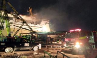 KM Awu Milik Pelni Terbakar di Pelabuhan Tanjung Mas