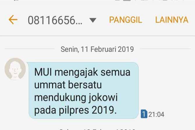 Pesan Ajakan Dukung Jokowi