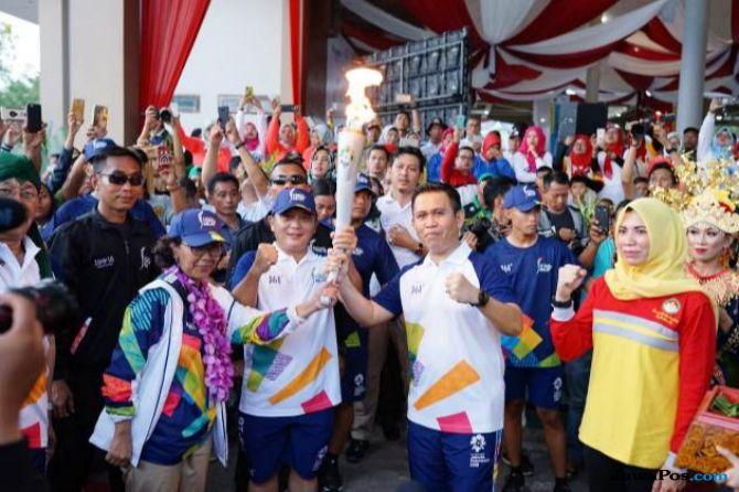 Bos PTPP Ikut Ramaikan Kirab Obor Asian Games 2018 di Sumatera Selatan