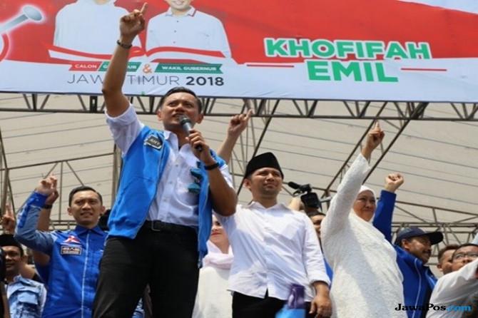 Hadiri Kampanya Akbar, AHY Sebut Khofifah-Emil Pasangan Paling Tepat