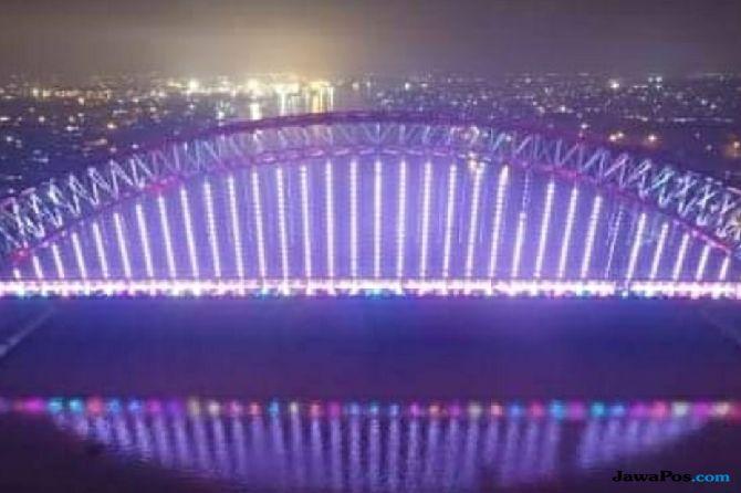 Lampu Jembatan Musi VI Digarap, Bakal Memancar Cahaya seperti Pelangi