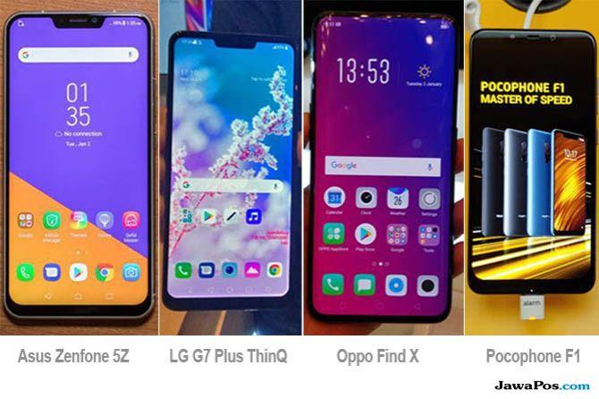 Asus Zenfone 5Z, LG G7 Plus ThinQ, Oppo Find X, Pocophone F1