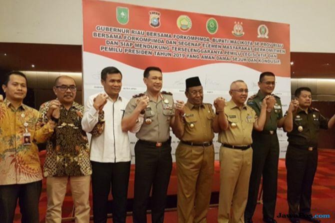 Polda Riau dan Forkopimda Deklarasi Pemilu 2019 Damai