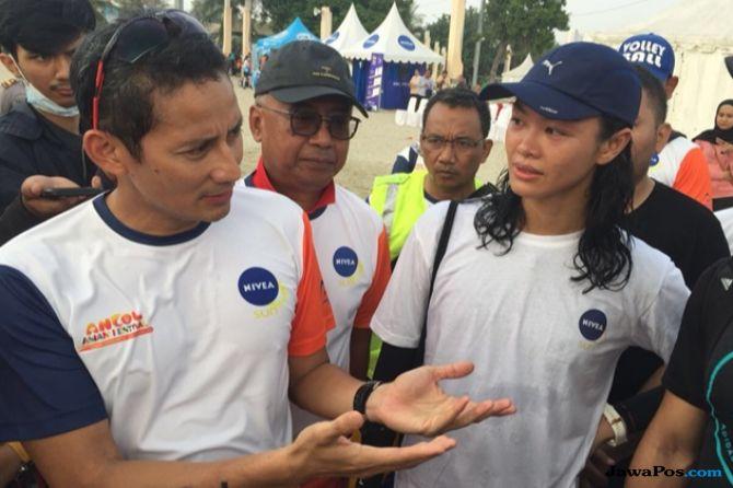 Sandiaga Lari 5 Kilometer di Ancol Aquathlon Sebelum MCU di RSPAD