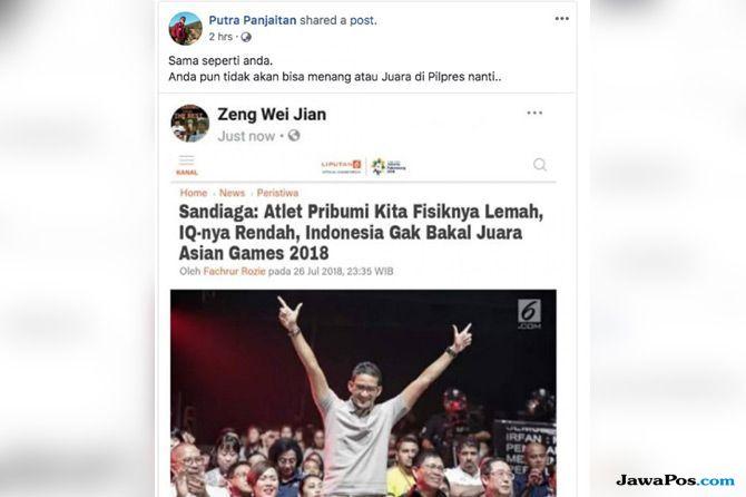 Sandiaga Uno Jadi Sasaran Berita Hasutan dari Akun Kloning