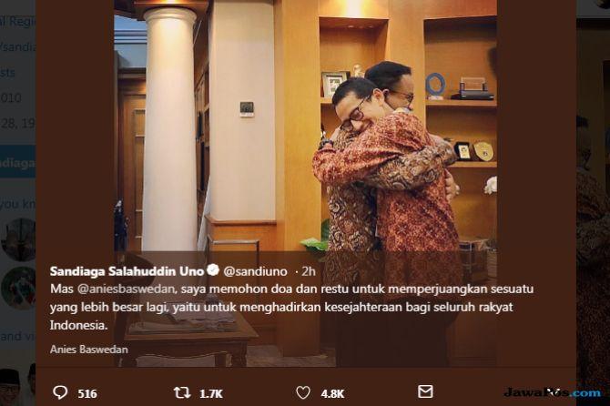 Sandiaga Uno Pamit ke Anies, Jokowi Sungkem ke Ibunda