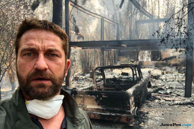 gerard butler, kebakaran di california, rumah selebriti hollywood terbakar, kerugian kebakaran di california,