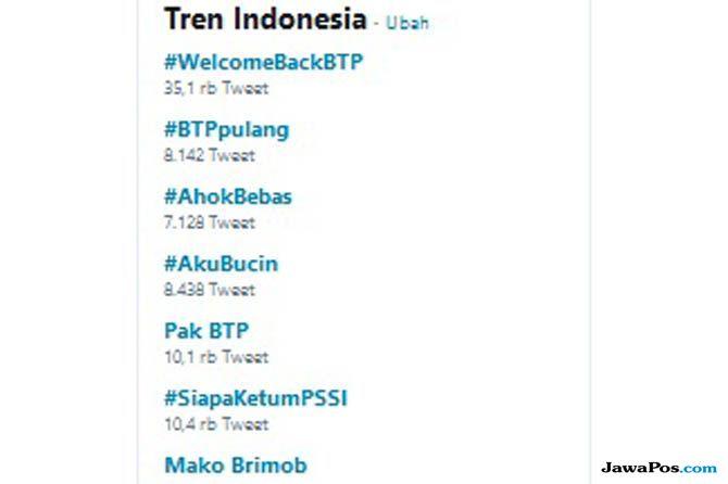 ahok bebas, ahok mako brimob, ahok trending topic