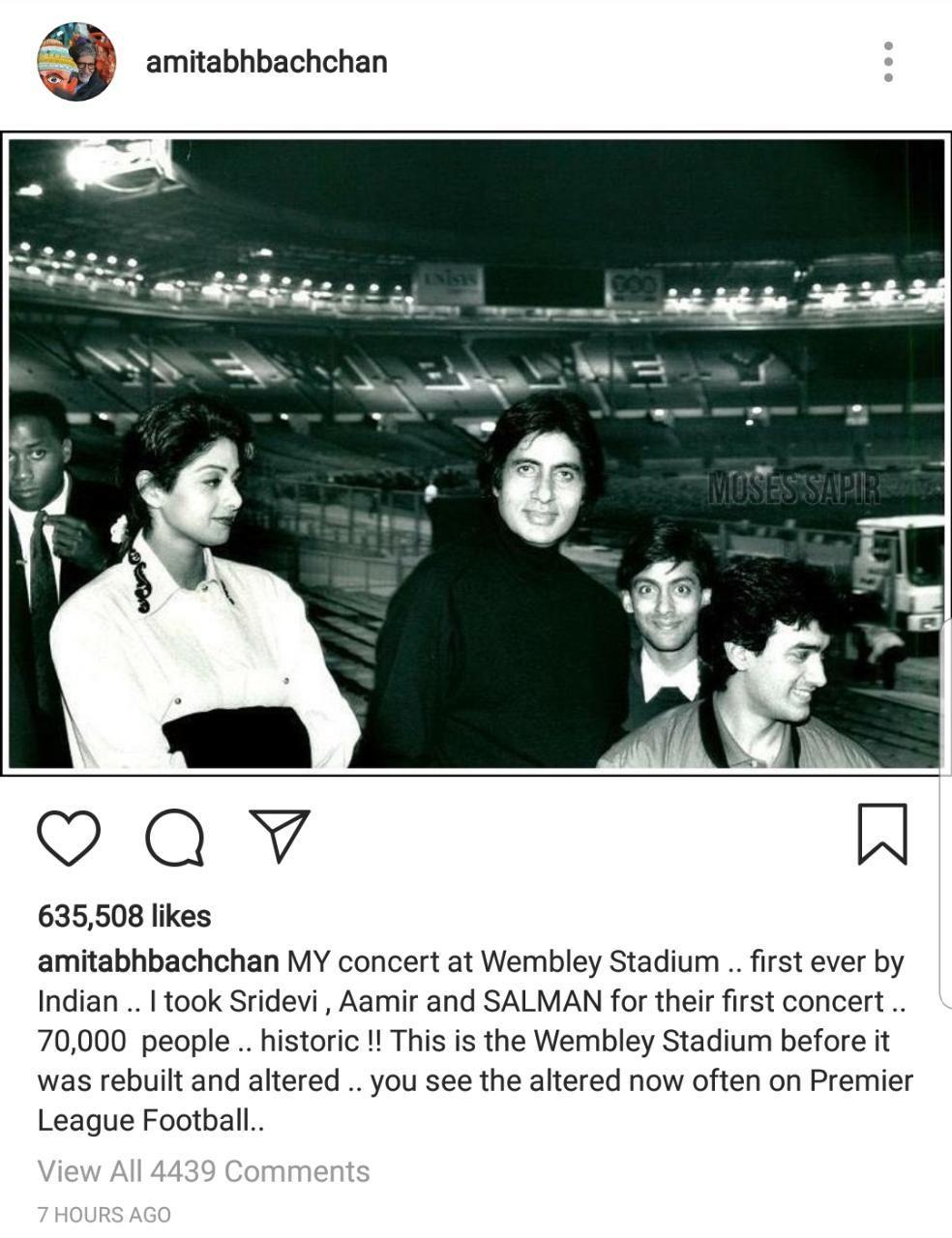 Amitabh Bachchan Kenang Sridevi, Salman dan Aamir Khan Muda Lewat Foto