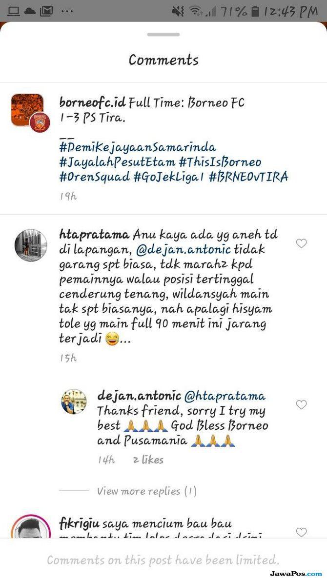 Borneo FC Dicurigai Usai Takluk dari PS TIRA, Begini Respons Dejan