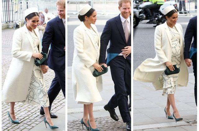 Cantiknya Meghan Markle dengan Topi Putih dan Gaun Victoria Beckham