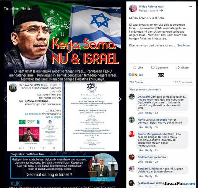 Hoax! NU Dituduh Kerja Sama dengan Israel