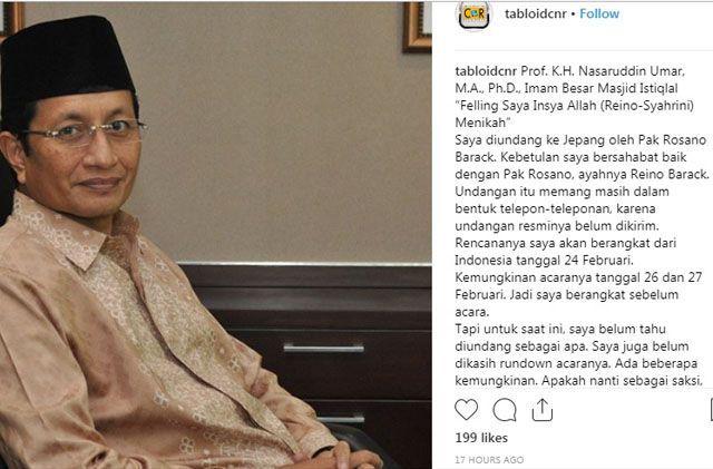 Imam Besar Masjid Istiqlal Ungkap Reino Barack dan Syahrini akan Nikah