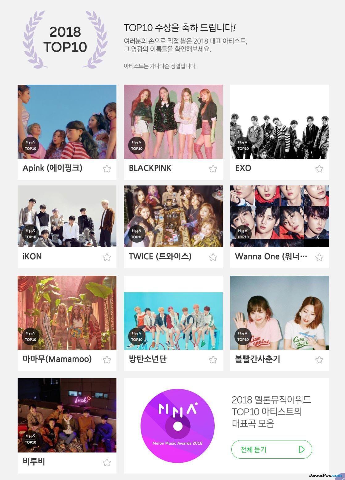 Ini Dia Pemenang 'Top 10 Artist' di Melon Music Awards 2018