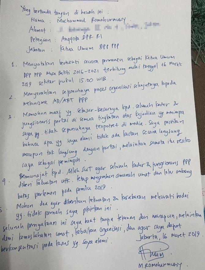 Isi Lengkap Surat Pengunduran Romahurmuziy dari Ketua Umum PPP