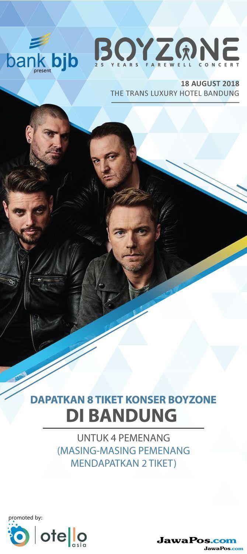 Kuis Konser Boyzone, 8 Tiket Gratis untuk Pemenang
