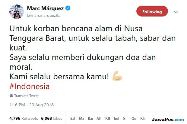 Marc Marquez Peduli Korban Bencana Gempa Lombok