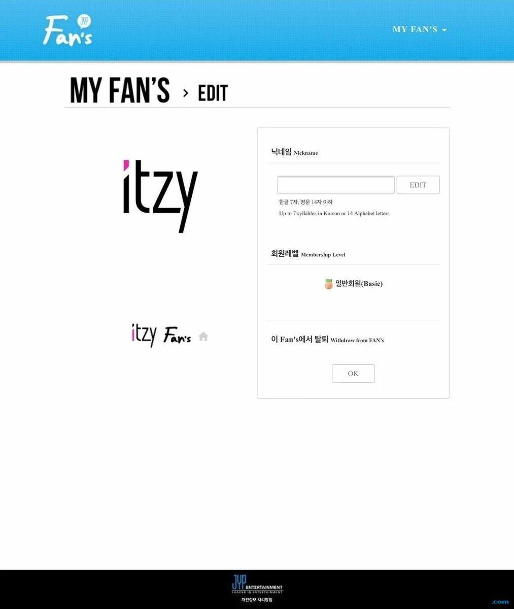Nama ITZY Tertulis di Website Resmi Fan Club JYP Entertainment