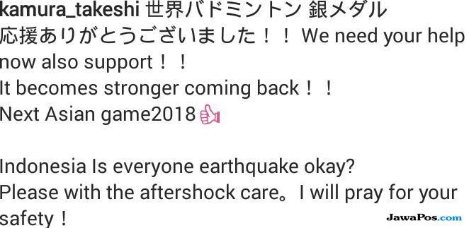 Gempa Lombok, gempa Bali, Takeshi Kamura/Keigo Sonoda, Jepang, bulu tangkis