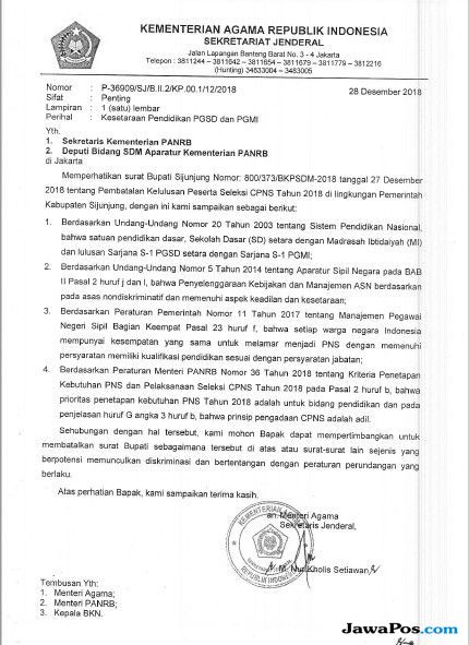 Pemkab Sijunjung Batalkan Kelulusan CPNS, Kemenag Surati Menteri PANRB
