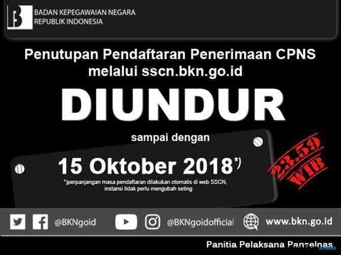 Simak! Pendaftaran Seleksi CPNS Diperpanjang Hingga 15 Oktober 2018