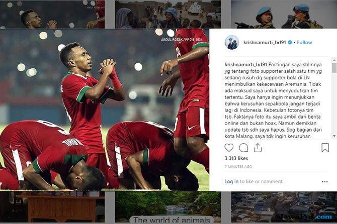 Terkait Unggahan di Instagram, Krishna Murti Minta Maaf ke Aremania